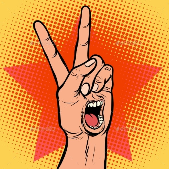 Scream Delight Mouth Emotion Hand Victory Gesture - Miscellaneous Vectors
