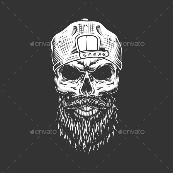 Hipster Skull in Cap