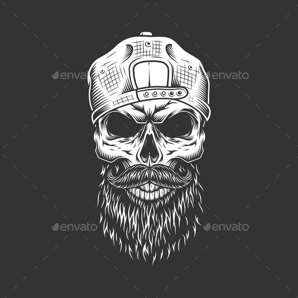 Hipster Skull in Cap - Miscellaneous Vectors