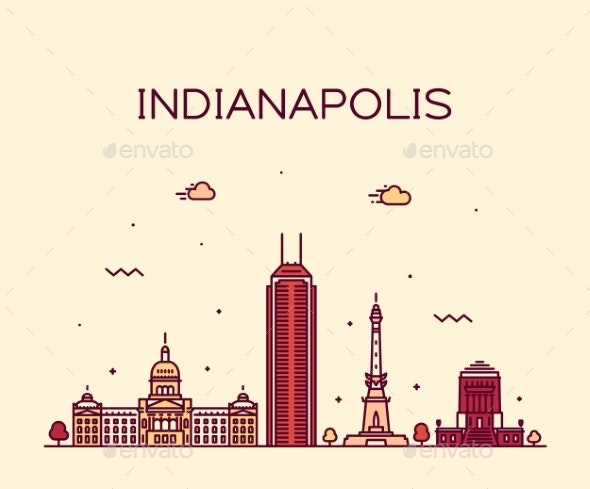 Indianapolis Skyline Indiana USA Vector Line City - Buildings Objects