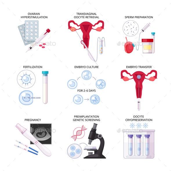 Flat In Vitro Fertilization IVF Icon Set - Health/Medicine Conceptual