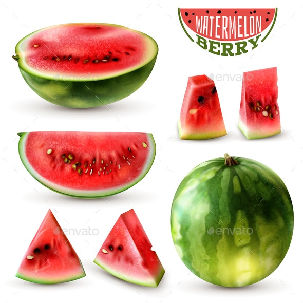 Watermelon Realistic Set - Food Objects