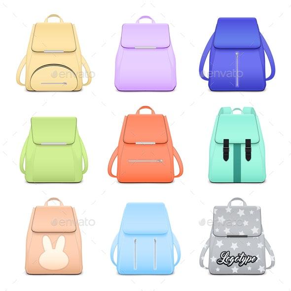 Elegant School Bags Collection - Miscellaneous Vectors