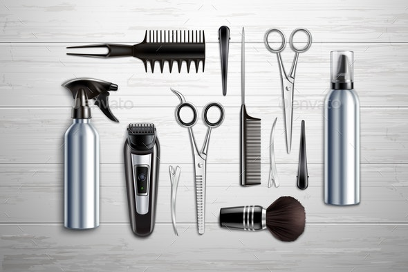 Hairdressing Tools Realistic - Man-made Objects Objects