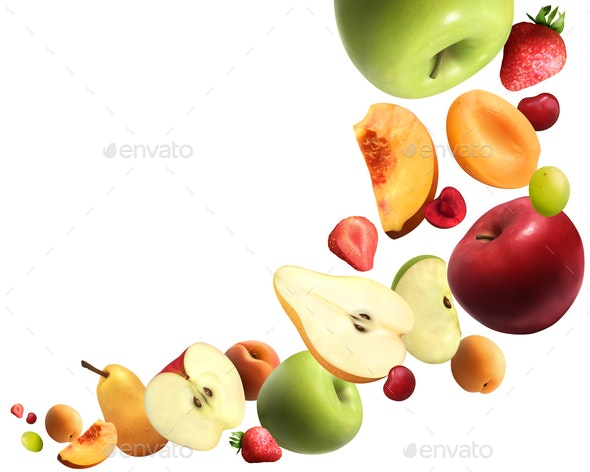 Fruits Falling Realistic Composition - Food Objects