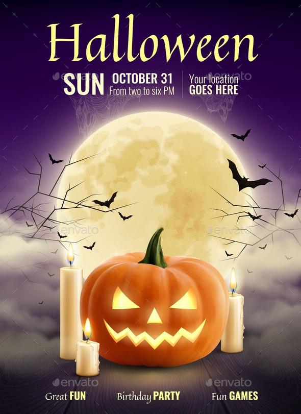 Halloween Party Realistic Poster - Halloween Seasons/Holidays