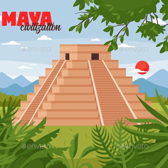 Maya Pyramids Doodle Background