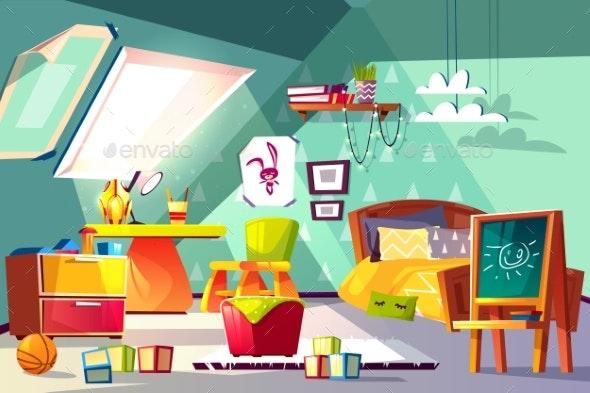 Comfortable Kids Room on Mansard Cartoon Vector - Miscellaneous Vectors