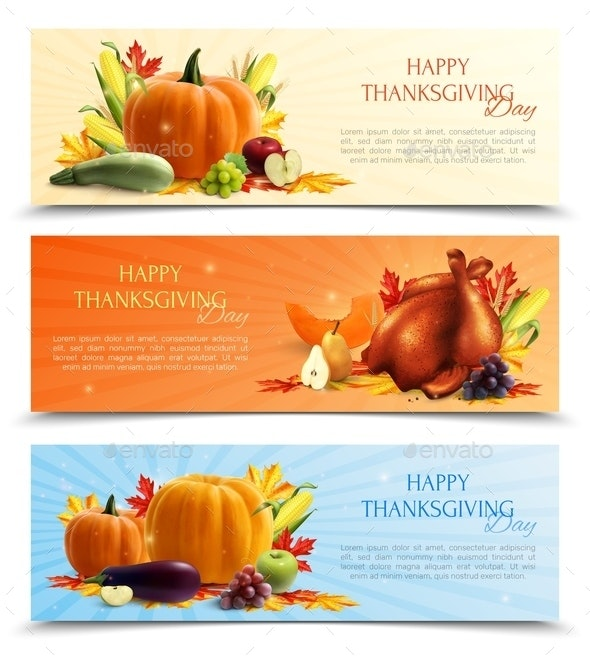 Thanksgiving Day Banners - Food Objects