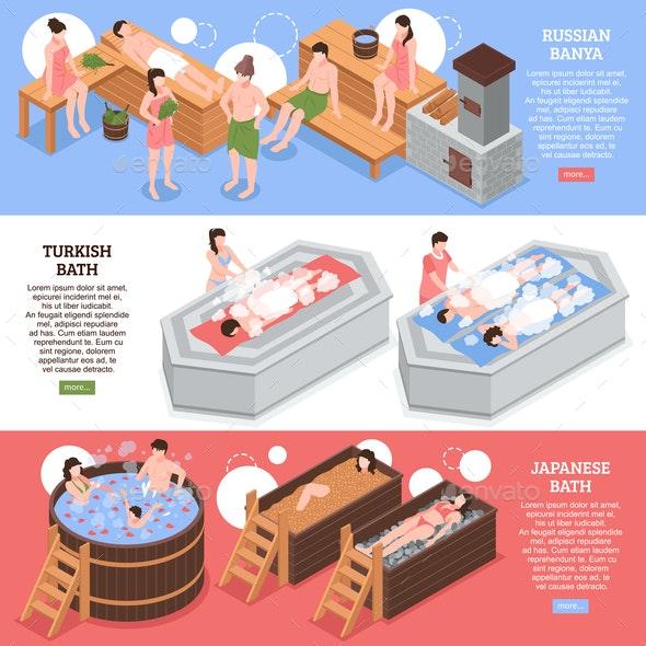Bath Houses Isometric Banners - Health/Medicine Conceptual