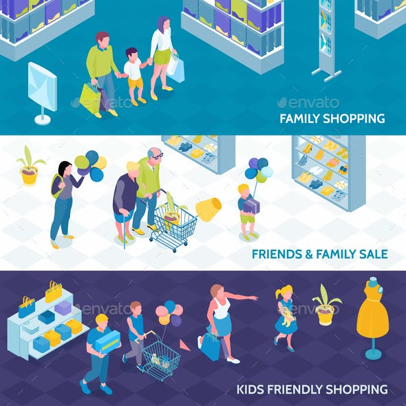 Family Shopping Isometric Banners