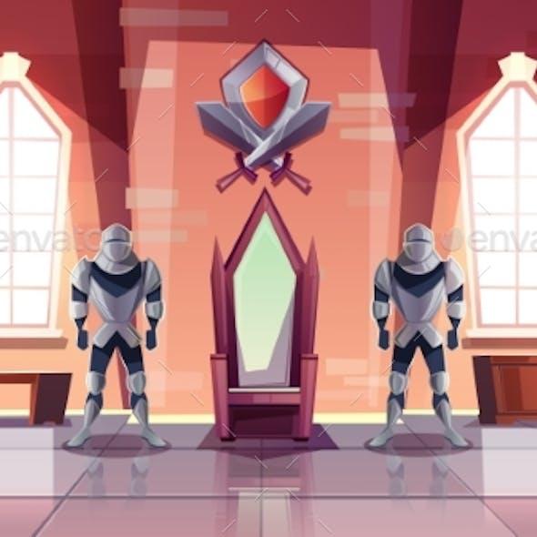 Royal Throne in Castle or Museum Cartoon Vector
