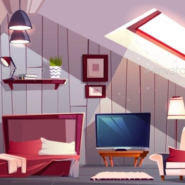 Guest Bedroom on Attic Cartoon Vector Interior
