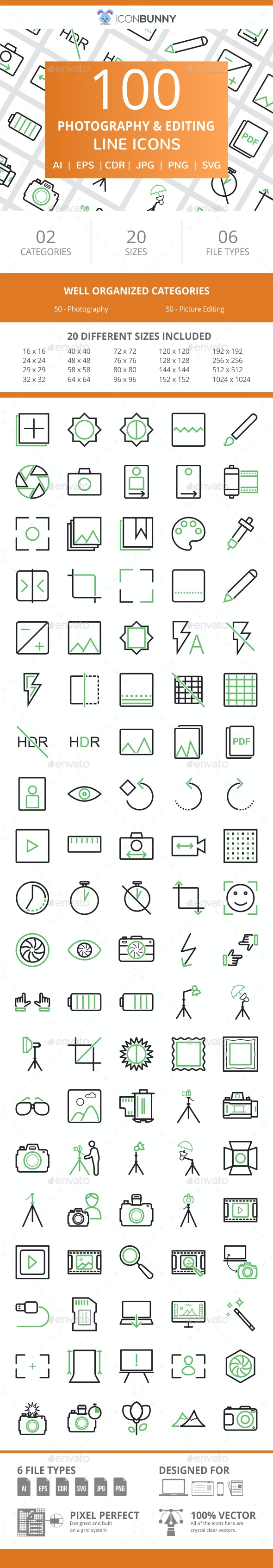 100 Photography & Picture Line Green & Black Icons - Icons
