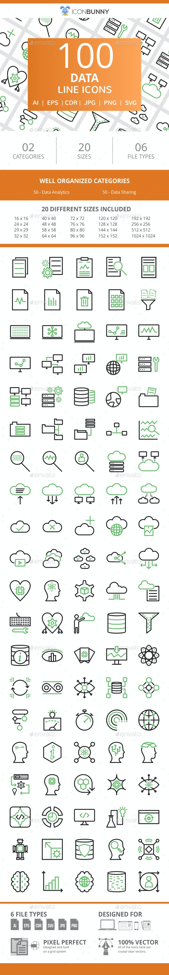 100 Data Line Green & Black Icons - Icons