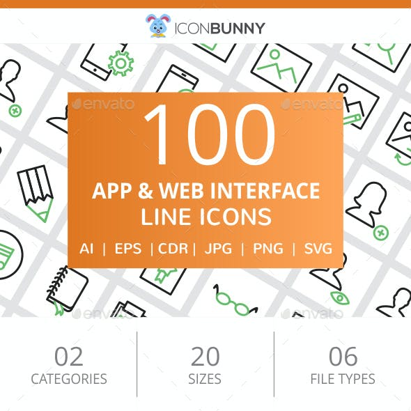 100 App & Web Interface Line Green & Black Icons
