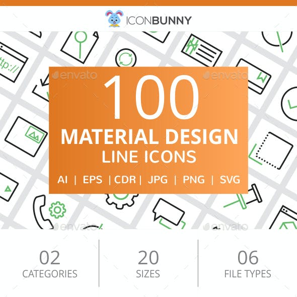 100 Material Design Line Green & Black Icons