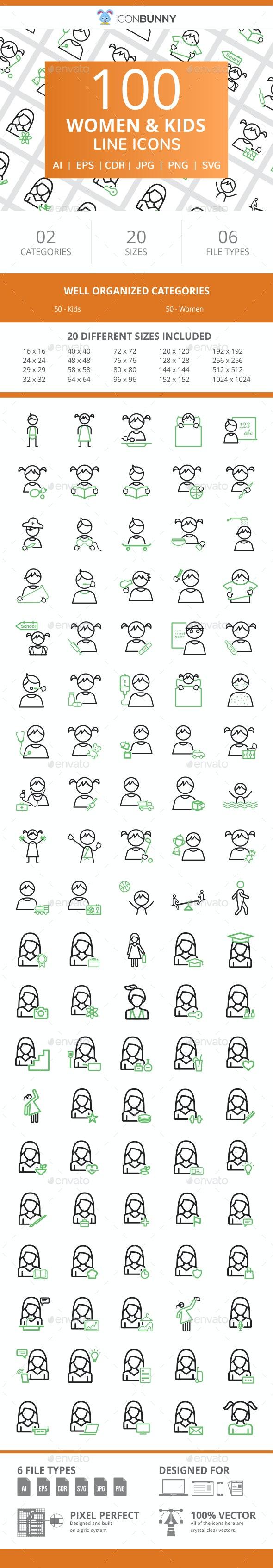 100 Women & Kids Line Green & Black Icons - Icons