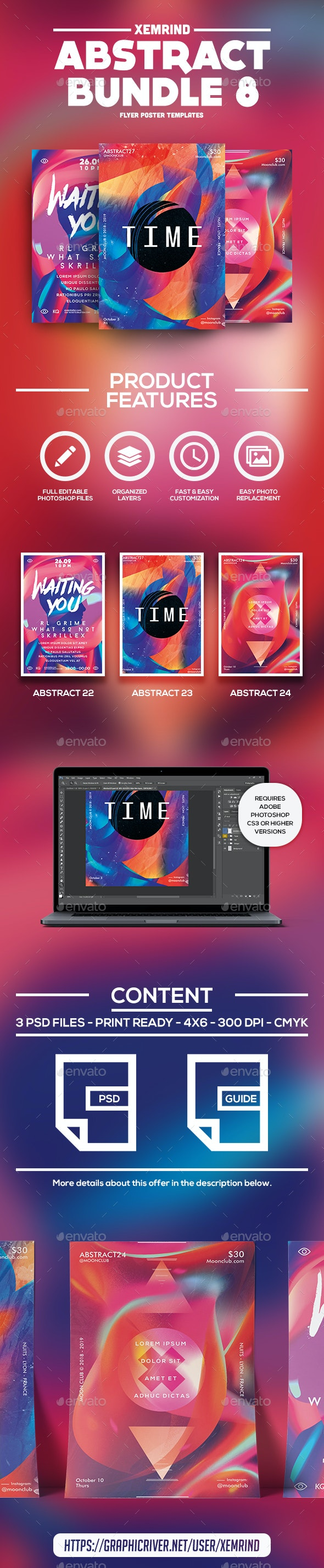 Abstract Flyer/Poster Template Bundle 8 - Events Flyers
