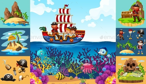 Ocean Scenes With Pirate On Ship - People Characters
