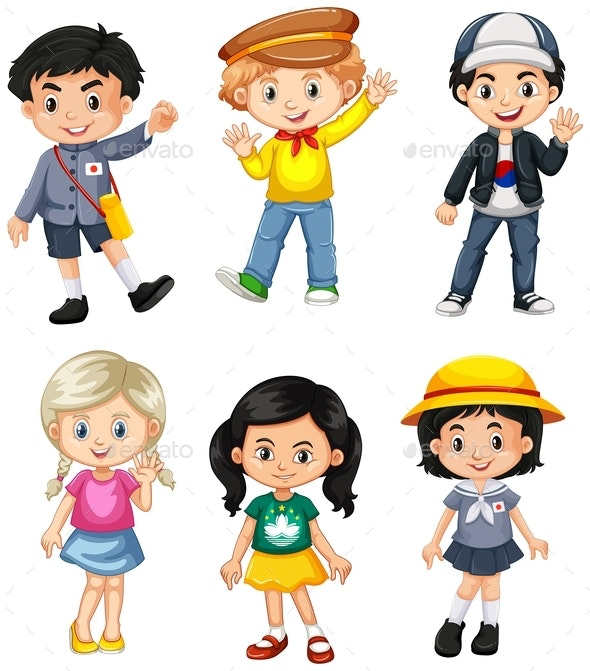 Boys And Girls From Different Countries - People Characters