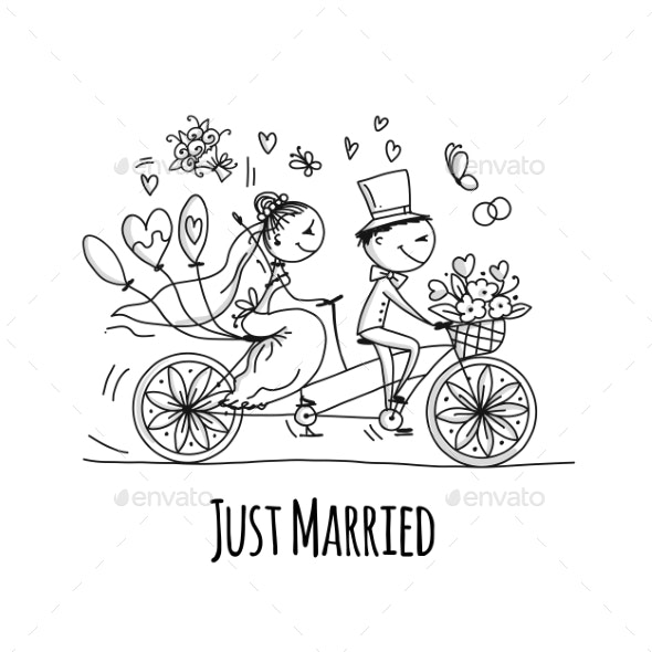 Wedding Card Design. Bride and Groom Riding - People Characters