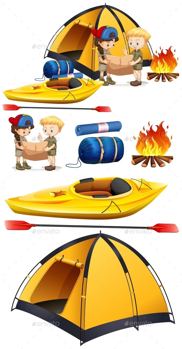 Children Camping Out With Camping Set - Objects Vectors