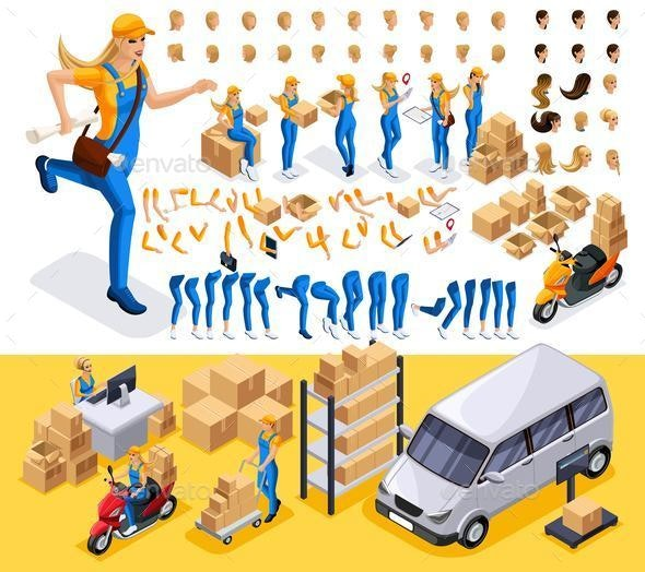 Isometric Set Create Your Character, Courier, For Delivery Service - Miscellaneous Vectors