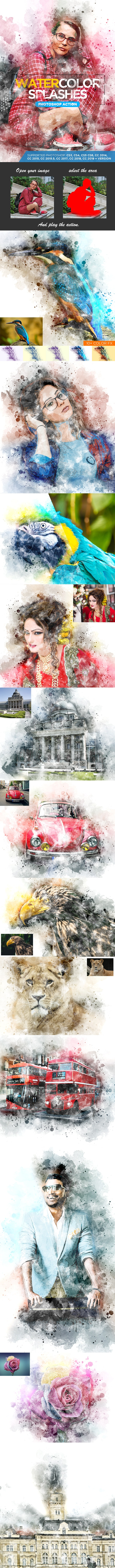 Watercolor Splashes - Photoshop Action - Photo Effects Actions