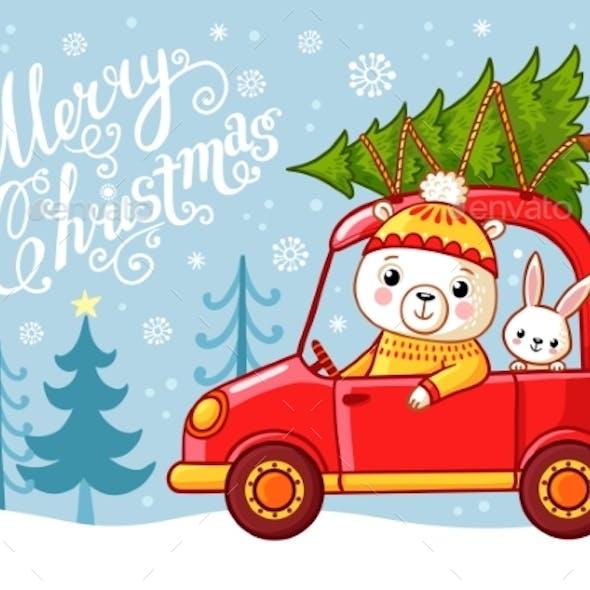 Christmas Card with a Teddy Bear and a Hare