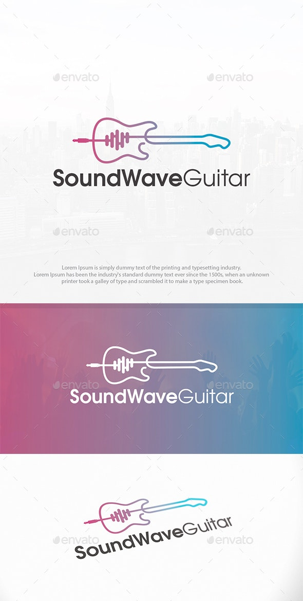 Guitar Sound Wave Logo - Objects Logo Templates