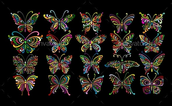 Ornate Butterfly Collection for Your Design - Miscellaneous Vectors