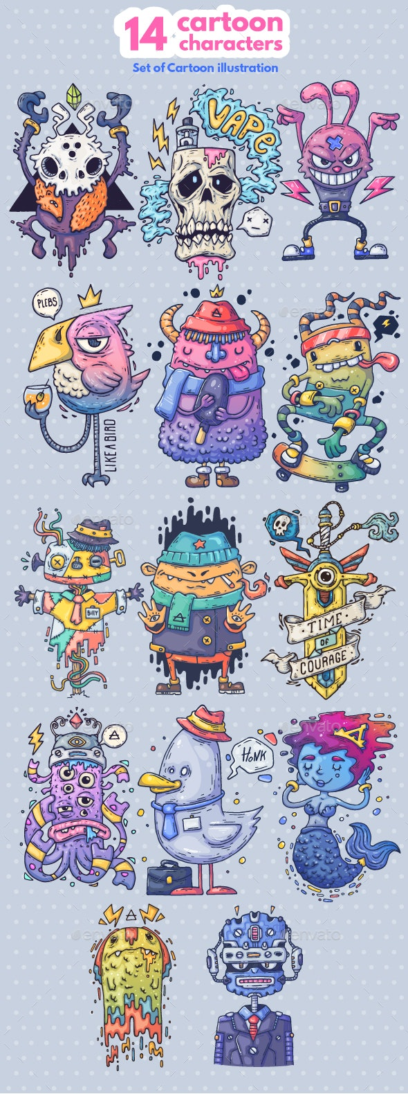 14 Different Cartoon Characters - Miscellaneous Characters