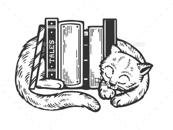 Sleeping Cat Around Books Engraving Vector - Miscellaneous Vectors