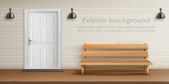 Vector Exterior Background with Veranda Facade - Buildings Objects