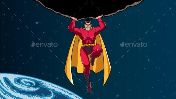 Superhero Holding Boulder in Space - People Characters
