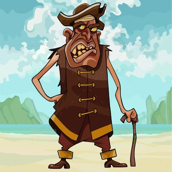 Cartoon Angry Toothy Man in Pirate Clothes - People Characters