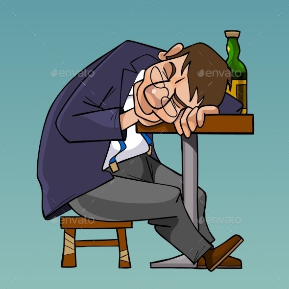 Cartoon Drunk Man in a Suit Fell Asleep Sitting - People Characters