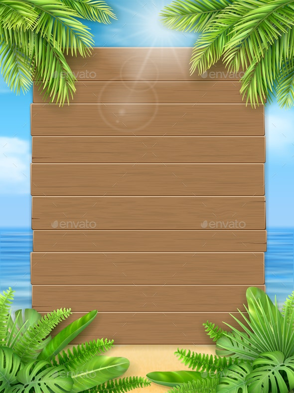 Wooden Sign Tropical Leaves By Belander Graphicriver 1 bouquet/18 leaves artificial silk tropical leaves for hawaii luau party decorations fske bonsai tree plant branch accessories. graphicriver