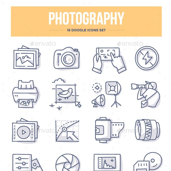 Photography Doodle Icons