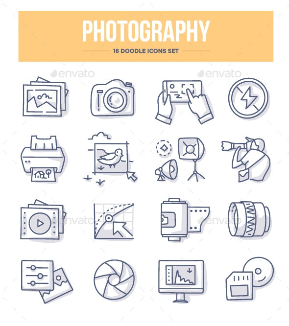 Photography Doodle Icons - Objects Icons