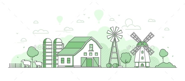 Eco Farming - Thin Line Design Style Vector - Buildings Objects