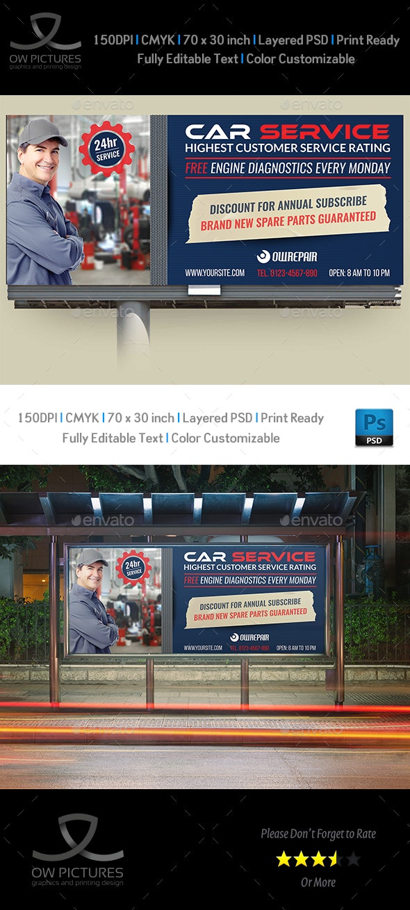 Car Service Billboard Template Vol.2 - Signage Print Templates