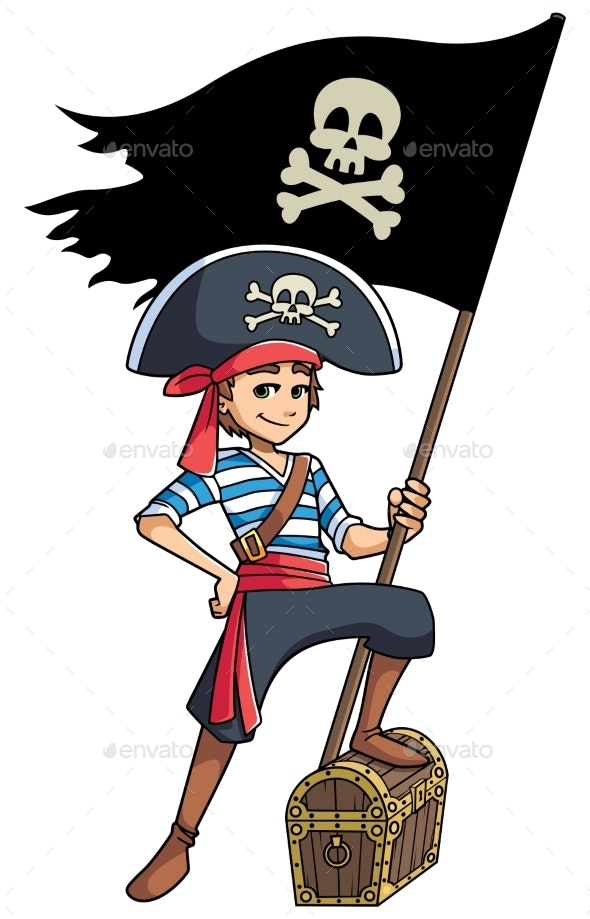 Pirate Boy Holding Flag - People Characters