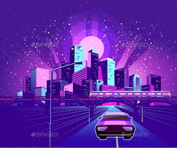 Night Neon City - Buildings Objects