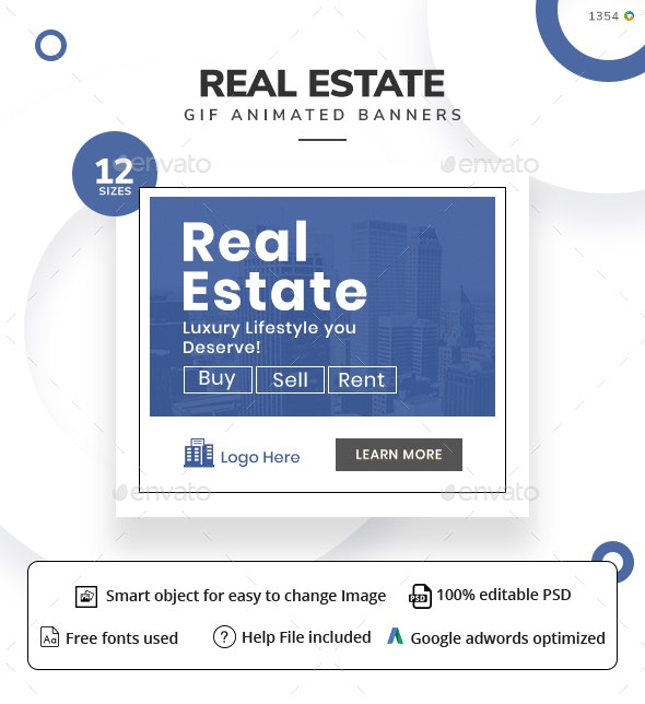 Real Estate Animated Gif Banner Set - Banners & Ads Web Elements