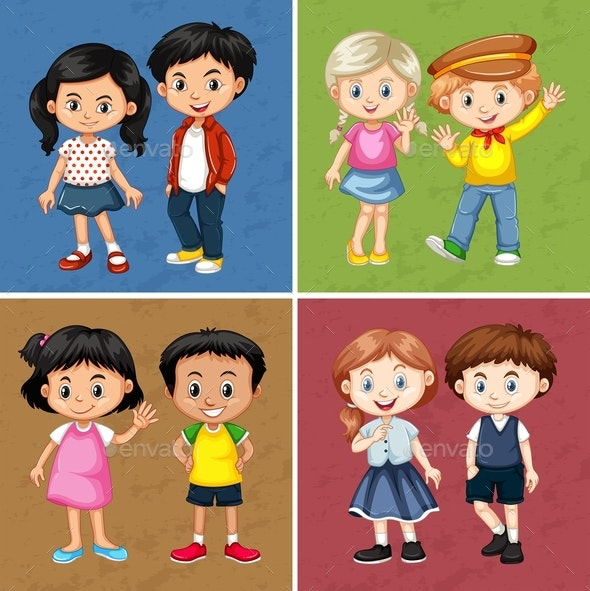Boys And Girls In Four Backgrounds - People Characters
