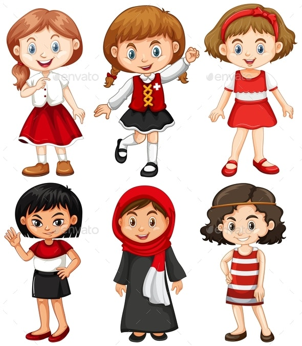 Girls In Red And Black Costumes - People Characters