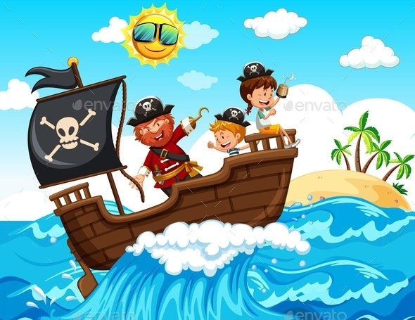 A Pirate And Happy Kids On Boat - People Characters