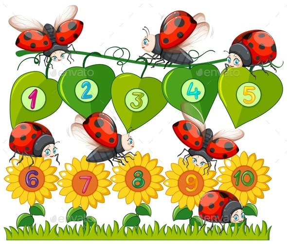 A Number With Ladybug And Flower - Animals Characters